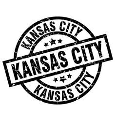 kansas city black round grunge stamp vector image vector image
