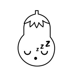 Kawaii eggplant cartoon vector
