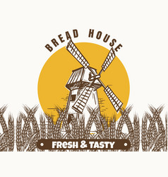 Mill and wheat ears banner vector