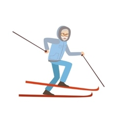 Old Man Skiing Winter Sports vector image vector image