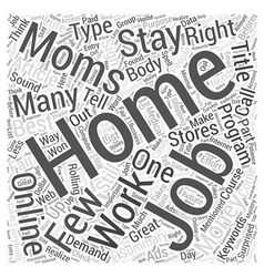 Online Jobs For Stay At Home Moms Word Cloud vector image