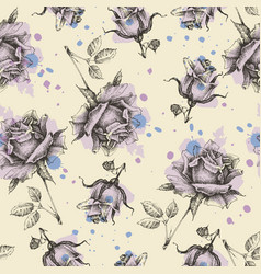 paint roses seamless pattern vector image
