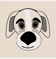 puppy cute funny cartoon dog head vector image vector image