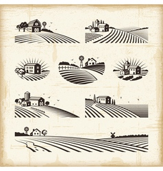 Retro landscapes vector