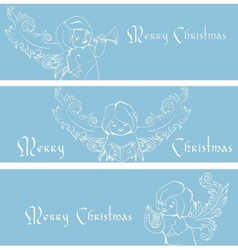 Rich ornate christmas banner background with vector