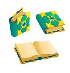 Set of cartoon green book vector image vector image
