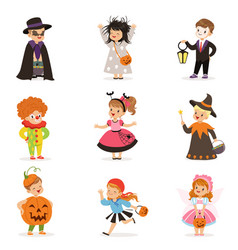 Ute happy little kids in different colorful vector