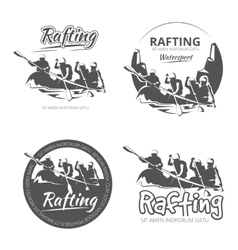 Vintage rafting canoe and kayak labels vector image vector image