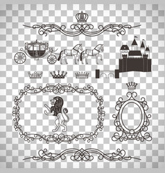 Vintage royal elements in line style vector
