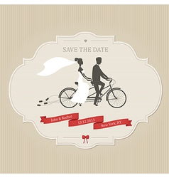 Vintage wedding invitation with tandem bicycle vector image