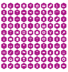 100 beer party icons hexagon violet vector