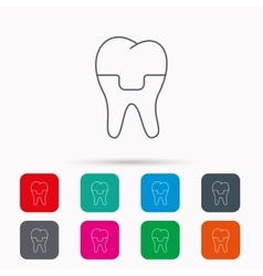 Dental crown icon tooth prosthesis sign vector