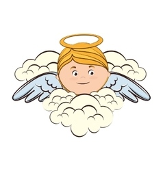 Angel cloud heaven halo icon vector