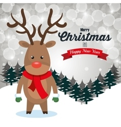 Reindeer cartoon greeting merry christmas design vector