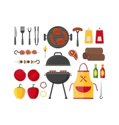 Barbecue and grill set vector