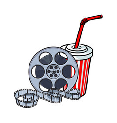 Cinema attributes film reel and soda water in vector