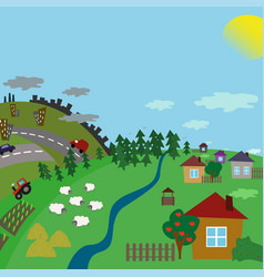 urban and village landscape road from the city to vector image