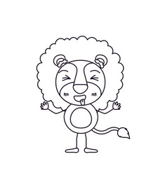 Sketch silhouette caricature of cute lion in vector