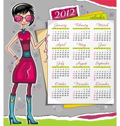 2012 calendar with fashion girl vector