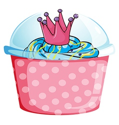 A disposable cupcake container vector
