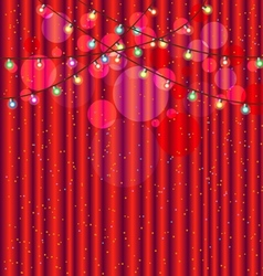 Red curtain and light for background vector