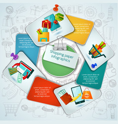 Shopping paper infographics vector