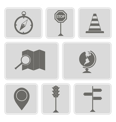 Monochrome icons with map and location sign vector