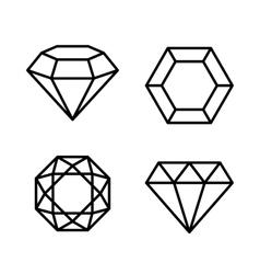 Diamond Gems Icons Set on White Background vector image