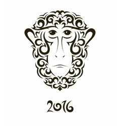 Greeting card with monkey - symbol of the new year vector