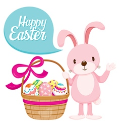 Rabbit and colourful easter eggs in gift basket vector