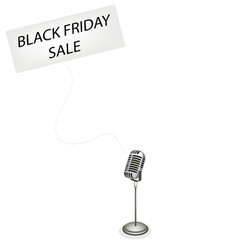 A Retro Microphone Broadcasting Black Friday Sale vector image vector image
