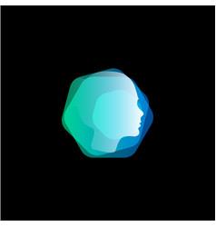 Abstract head hair style hexagon shape logo vector