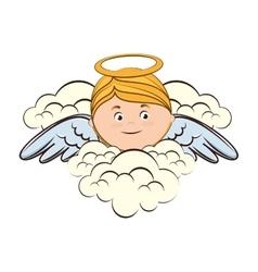 Angel cloud heaven halo icon vector