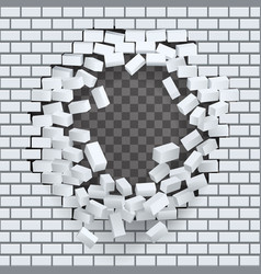 Break hole in brick wall destruction template vector