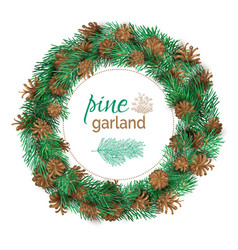christmas pine round garland vector image vector image