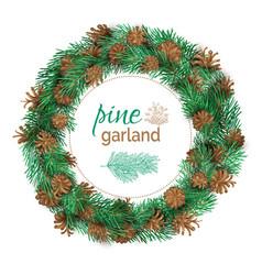 Christmas pine round garland vector