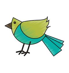 colorful crayon silhouette of cartoon bird vector image vector image