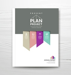Cover report present colorful ribbon year plan vector