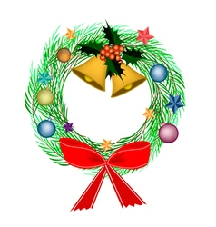 Cristmas wreath of pine leaves with christmas deco vector