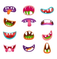 Cute animal face expressions and emotions Funny vector image
