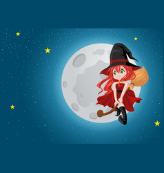 Cute cartoon witch flying with her broom during vector