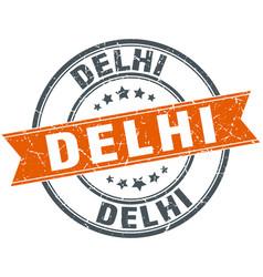 Delhi red round grunge vintage ribbon stamp vector