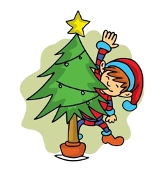 Elf helper with spruce Christmas theme vector image vector image