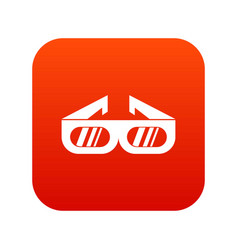 glasses for 3d movie icon digital red vector image vector image