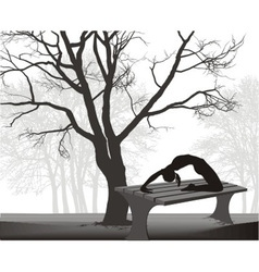 Gymnast on a table in in the park vector