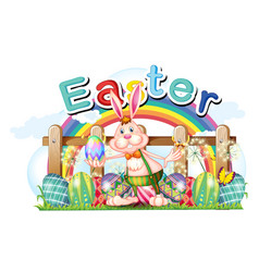 Happy easter card with bunny and eggs vector