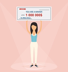 Happy woman holding large check of one million vector