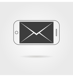 inverted black smartphone and letter icon with vector image vector image