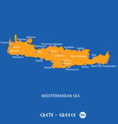 Island of crete in greece orange map and blue vector