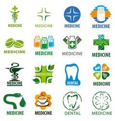 Large set of logos for medicine vector